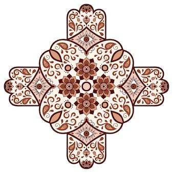 Dekorative verzierung im ethnisch orientalischen stil. braun