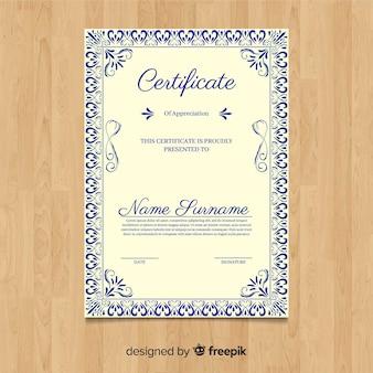 Dekorative vintage zertifikatvorlage