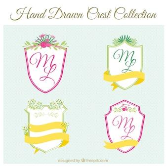 Dekorative wappen mit hand gezeichnet floralen details