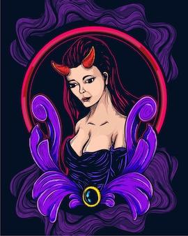 Dekorative weibliche dämonenkunstwerke