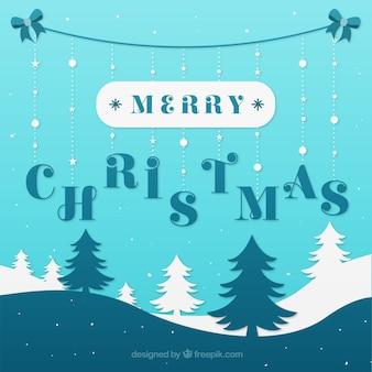 Dekorative weihnachten hintergrund mit blauen und weißen bäumen
