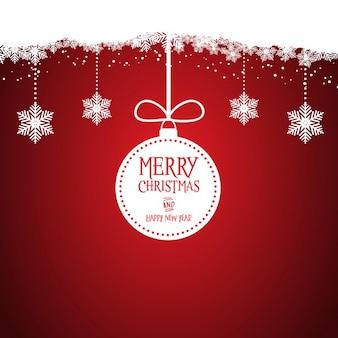 Dekorative weihnachten hintergrund mit hängenden kugeln