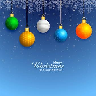 Dekorative weihnachtliche glänzende kugeln-feiertagskartenhintergrund