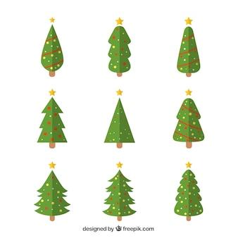 Dekorative weihnachtsbäume in geometrischen stil