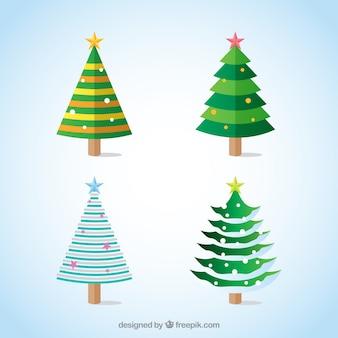 Dekorative weihnachtsbäume mit sternen in verschiedenen farben