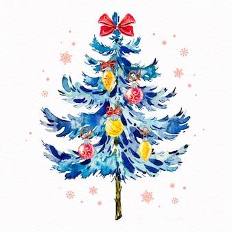 Dekorative weihnachtsbaum-aquarellart