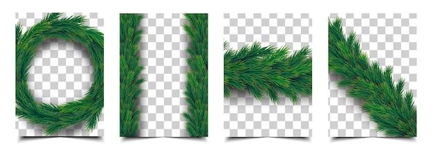 Dekorative weihnachtsgirlande auf transparentem hintergrund