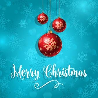 Dekorative weihnachtskugel hintergrund mit schneeflocken-design