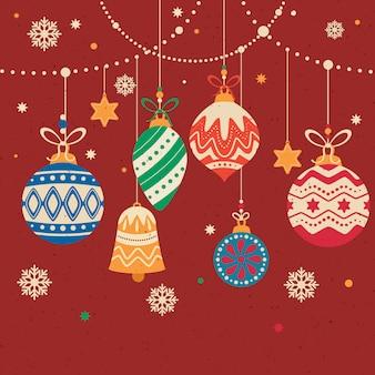 Dekorative weihnachtskugelansammlung