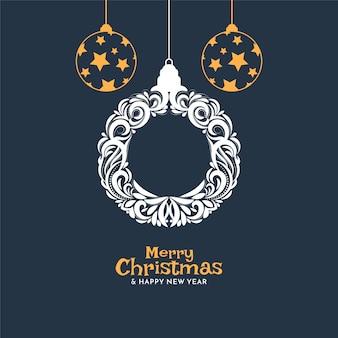 Dekorative weihnachtskugeln des flachen designs für frohe weihnachten