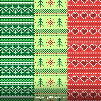 Dekorative weihnachtsmuster aus wolle