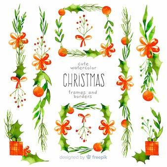 Dekorative weihnachtsrahmen und -ränder