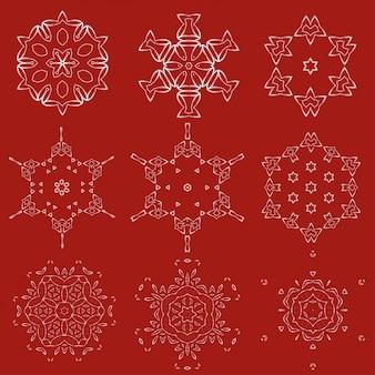 Dekorative weihnachtsschneeflocken eingestellt