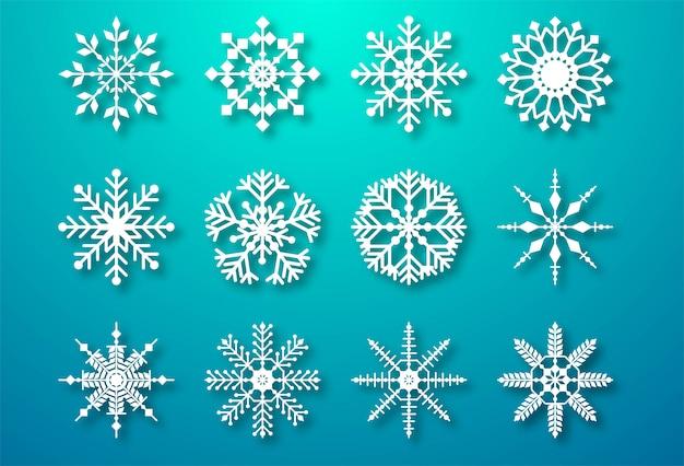 Dekorative weihnachtsschneeflocken stellten elemente ein