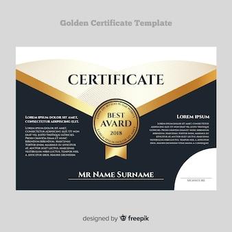 Dekorative zertifikatvorlage mit goldenen elementen