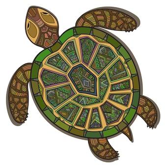 Dekorative zierschildkröte mit zeichen, buntes ethnisches muster. geometrische und florale texturen für druck, tapete, webseiten, oberflächendesign, textil, mode, karten
