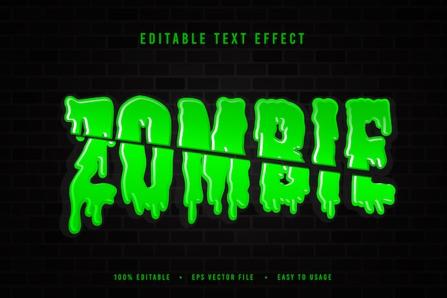 Dekorative zombie-schriftartillustration