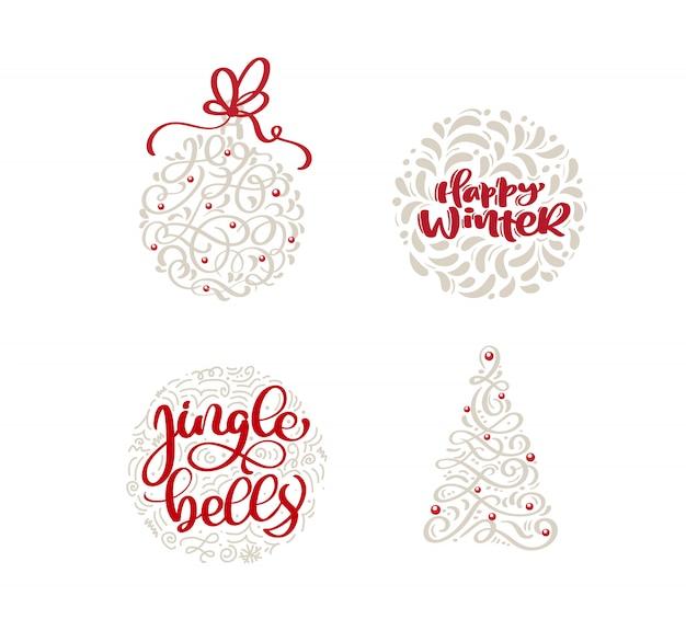 Dekorativer aufklebersatz der frohen weihnachten