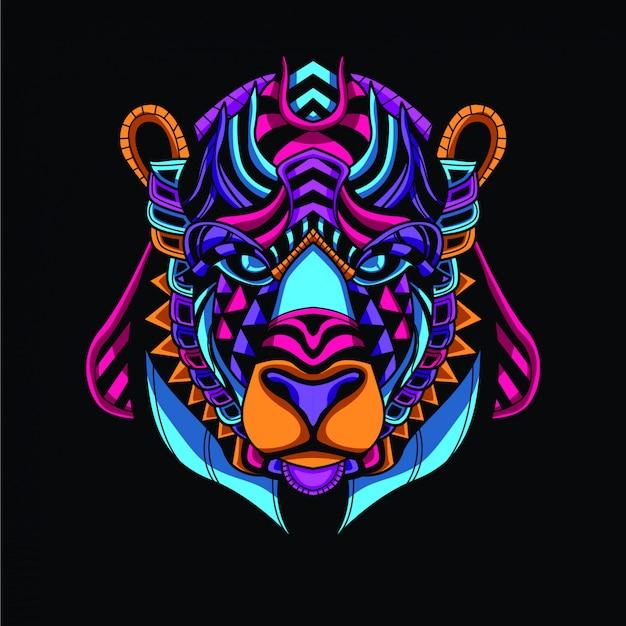 Dekorativer bärenkopf aus leuchtender neonfarbe