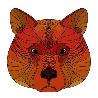 Dekorativer bärenkopf des abstrakten gekritzels. moderner handgemachter roter bärenporträtmusterhintergrund für design-t-shirt, tierklinikplakat, geschenkkarte, taschendruck, kunstwerkstattwerbung usw.