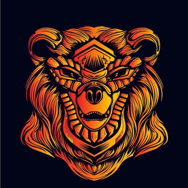 Dekorativer bärenkopf leuchtet im dunkeln