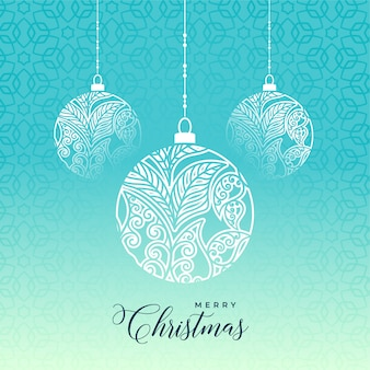 Dekorativer ball der frohen weihnachten auf blauem hintergrund
