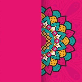 Dekorativer blumenmandala-rahmen auf rosa