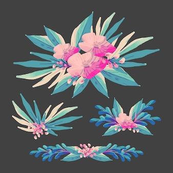 Dekorativer blumensatz im flachen design