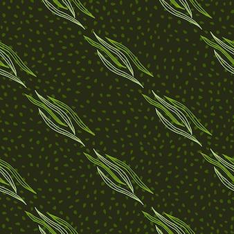 Dekorativer botanischer umriss formt nahtloses muster auf punkthintergrund.