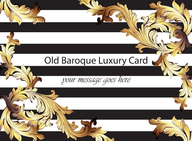 Dekorativer dekor der barocken musterillustration handgemachter. gestreifter horizontaler hintergrund. golddetails