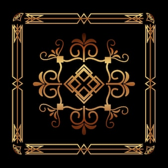 Dekorativer dekorativer rahmenblumenschablone des art deco