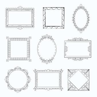Dekorativer doodle-rahmen-set