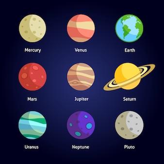 Dekorativer elementsatz der sonnensystemplaneten lokalisierte vektorillustration