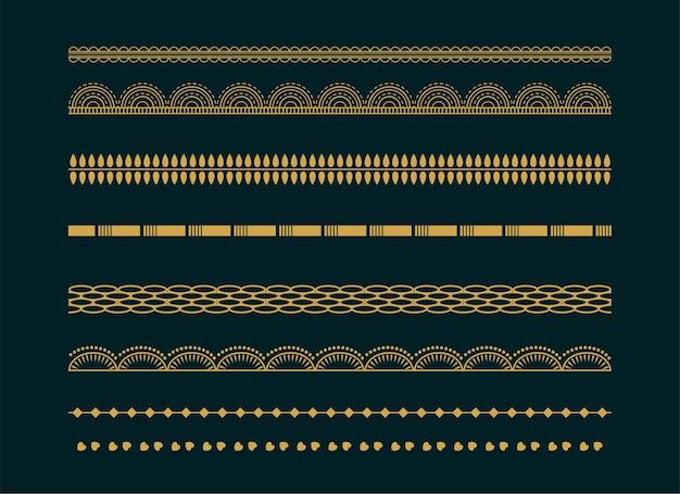 Dekorativer ethnischer boho grenzt musterentwurfssatz ab