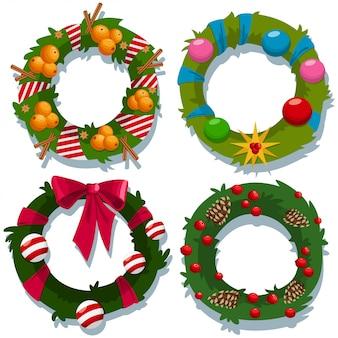 Dekorativer feiertagselementsatz der weihnachtskranzvektorkarikatur