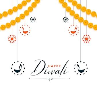 Dekorativer glücklicher diwali festival weißer hintergrund