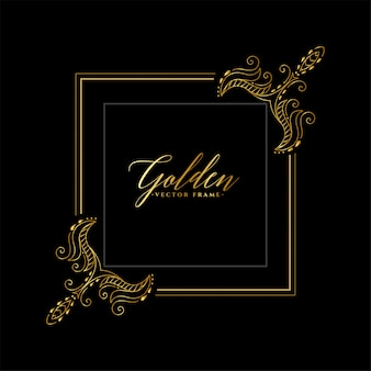Dekorativer goldener blumenrahmen-einladungshintergrund
