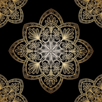 Dekorativer goldener mandala-bildschirmschoner