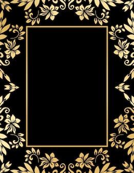 Dekorativer goldener rahmen mit abstrakten luxuswellen und locken