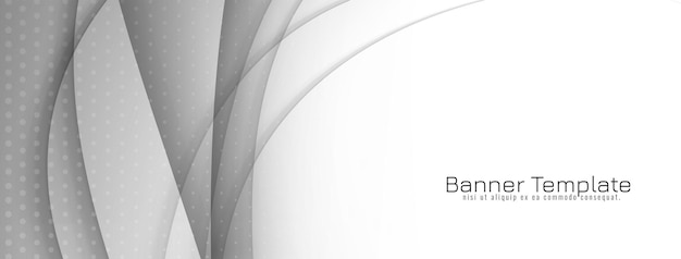 Dekorativer grauer und weißer wellenart-banner-designvektor