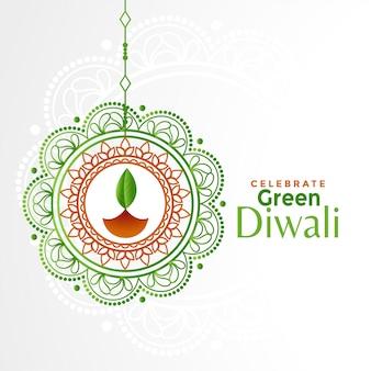 Dekorativer grüner diwali festivalhintergrund