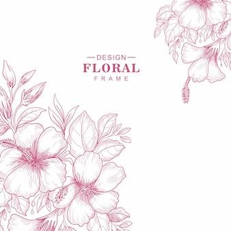 Dekorativer grußkartenblumenrahmenskizzenhintergrund
