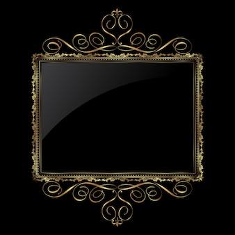 Dekorativer hintergrund in metallischem gold und schwarz