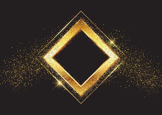 Dekorativer hintergrund mit glitzerndem goldrahmen