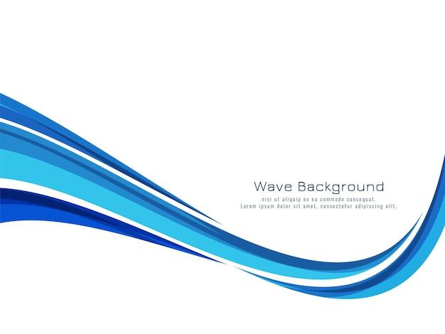 Dekorativer hintergrundvektor des modernen blauen wellendesigns