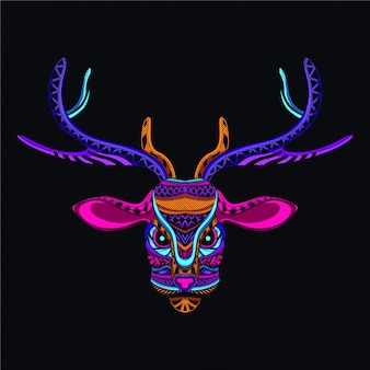 Dekorativer hirschkopf aus neonfarbe