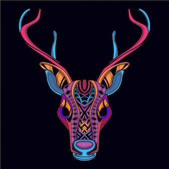 Dekorativer hirschkopf in leuchtender neonfarbe