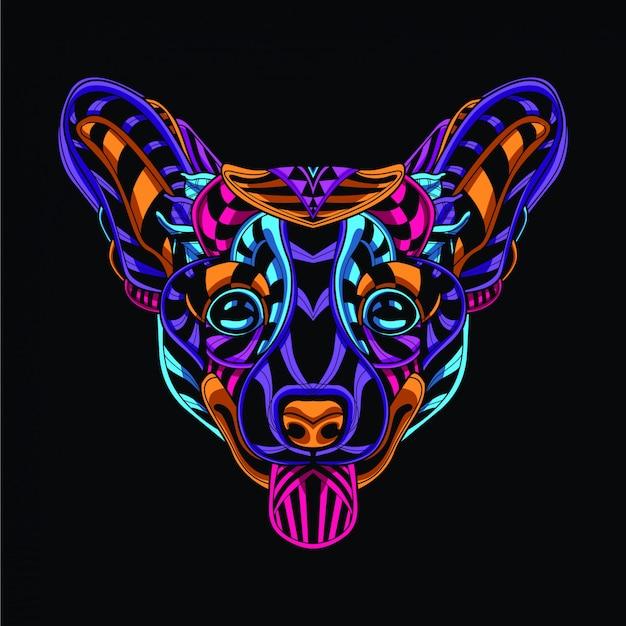 Dekorativer hundekopf aus neonfarben
