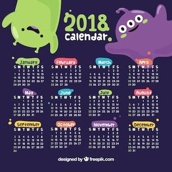 Dekorativer kalender des neuen jahres 2018