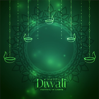 Dekorativer kartenhintergrund des glänzenden grünen diwali-festivals
